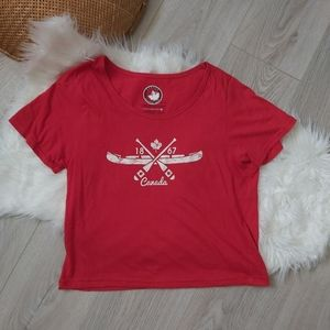 Red Canada Day cropped tshirt